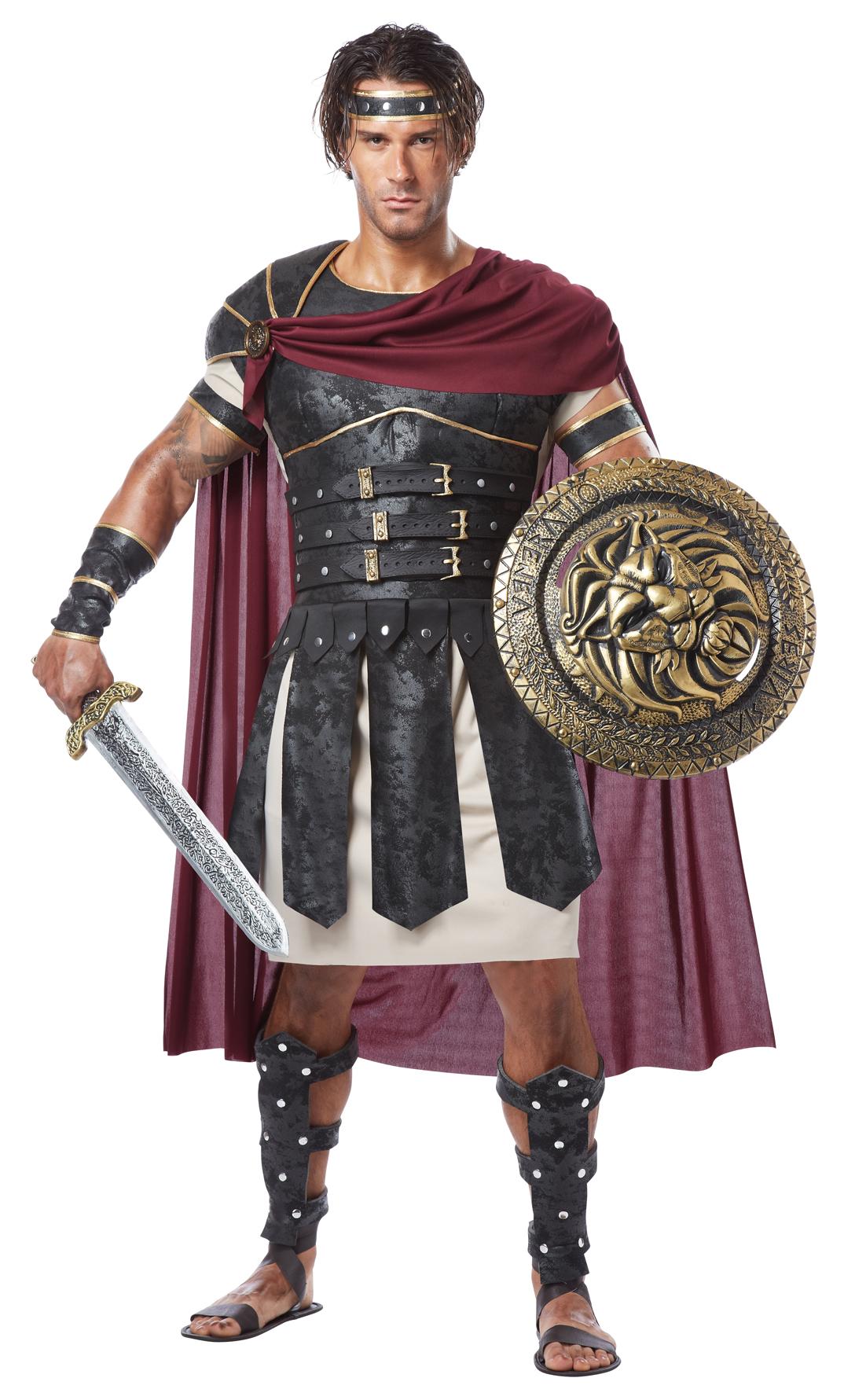 Ifavor123com Mens Roman Gladiator Greek Soldier Halloween Costume Set Cape Tunic Body Armor