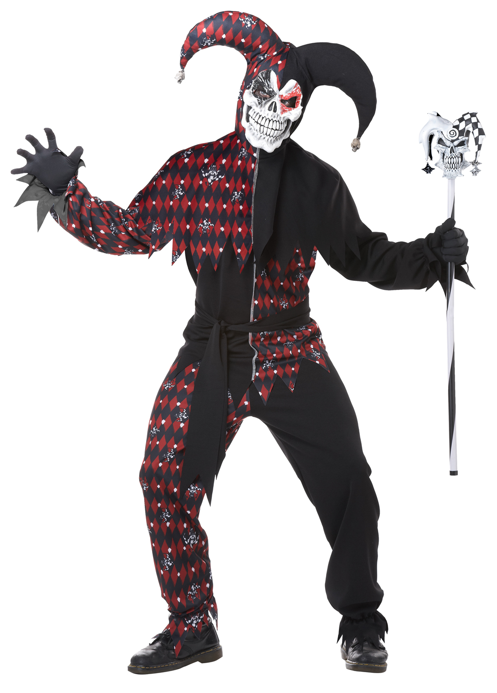 Men's Sinister Jester Joker Halloween Costume Cosplay Set Shirt ...