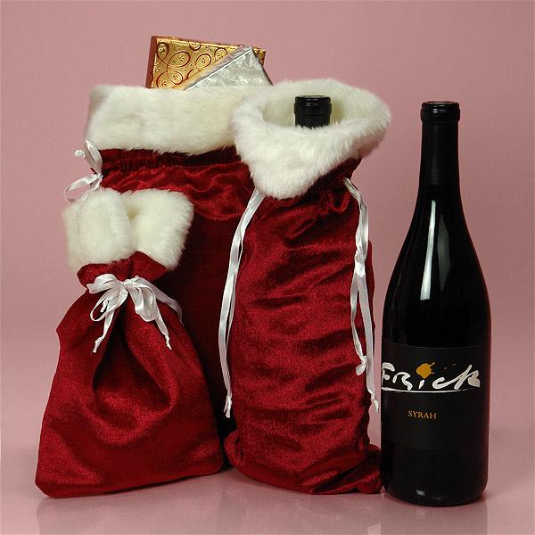 Red velvet white faux fur wine bottle cover gift bag
