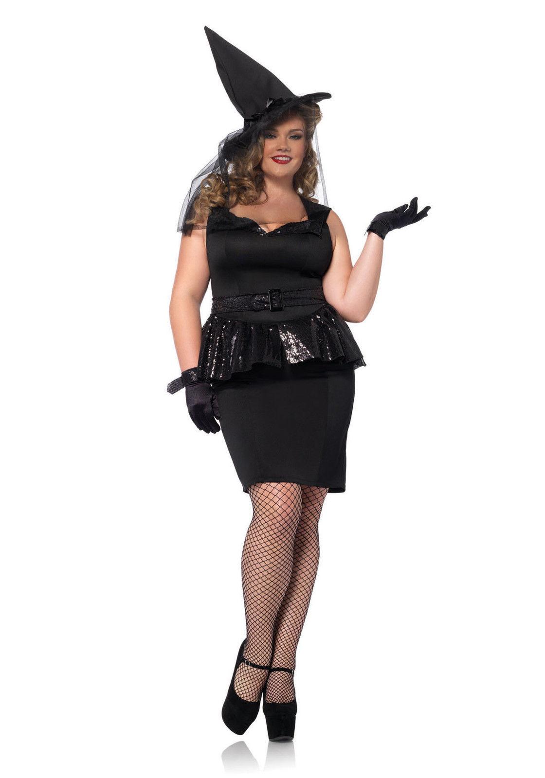 Women's Plus Vintage Witch Costume Halloween Set Peplum Dress Hat ...