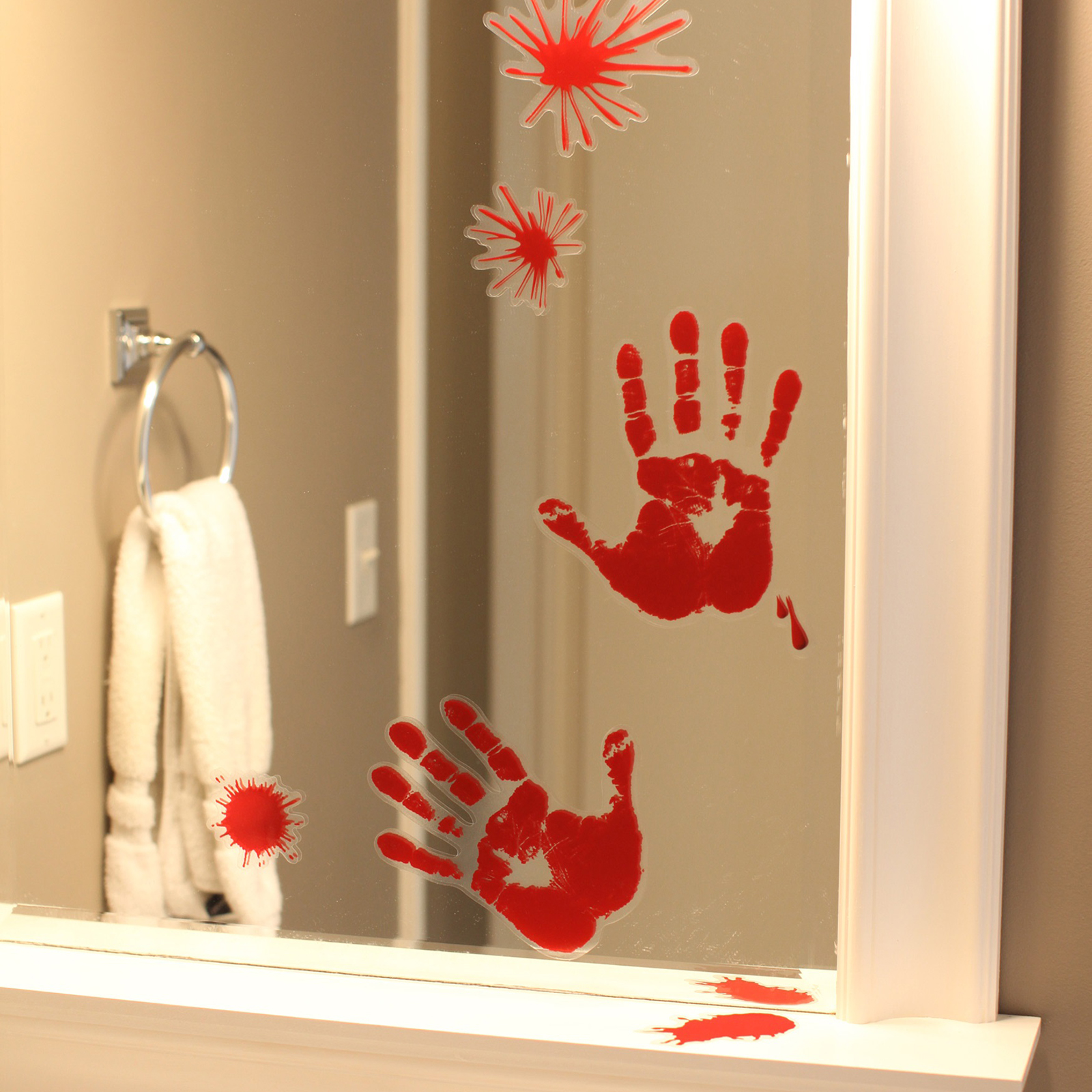 red hand print bloody splatter marks window clings halloween