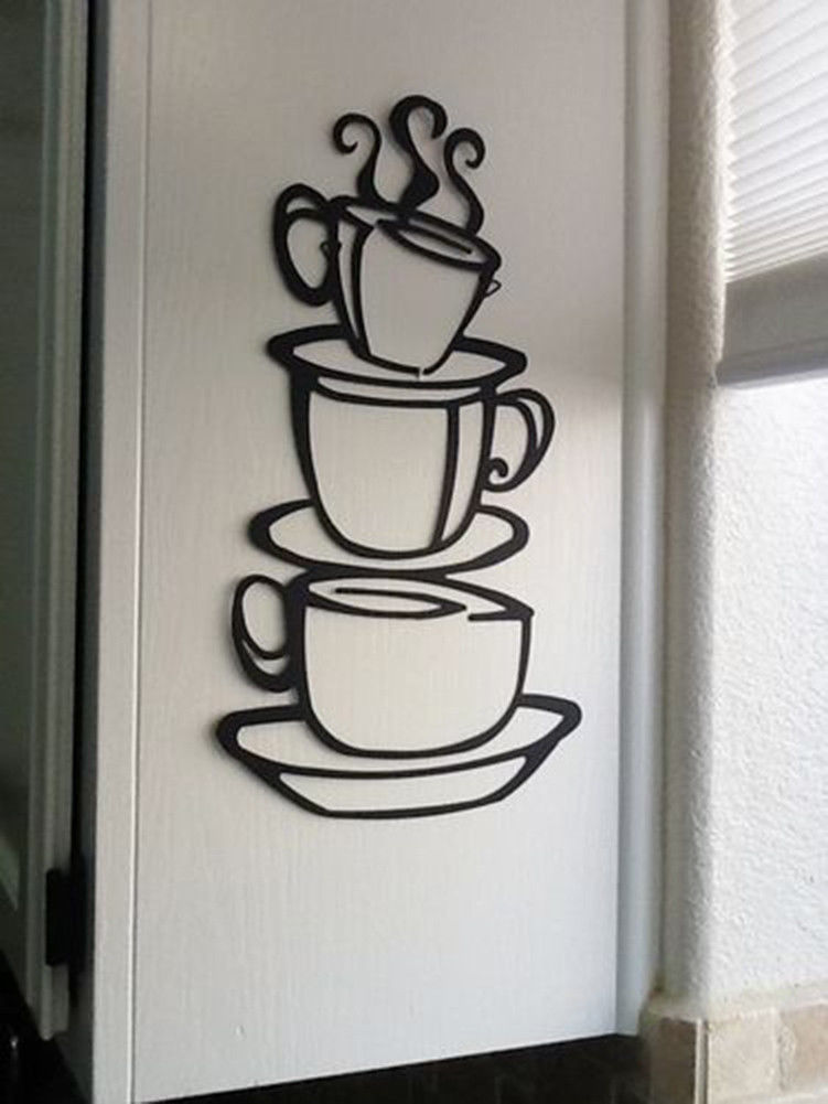 Coffee house cup java silhouette wall art metal mug for Black kitchen wall decor