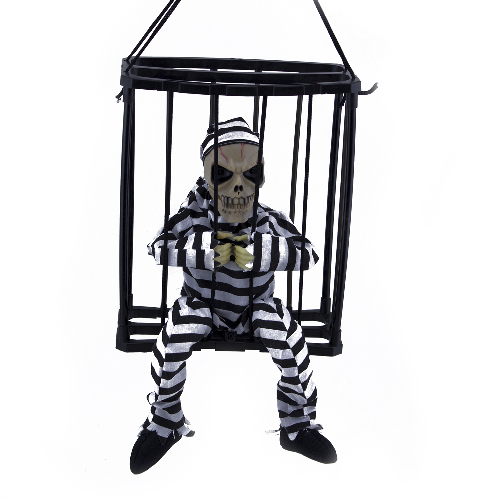 motion sensor hanging caged jail prisoner skeleton halloween decoration light up - Skeleton Halloween Decoration