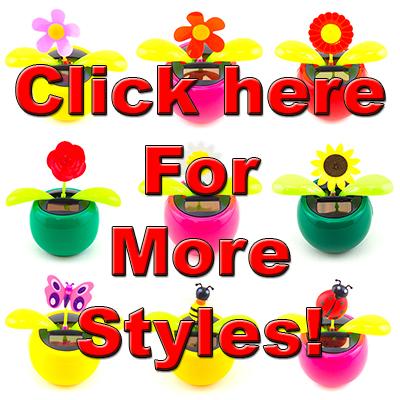 c6ed785ea72553 Solar Powered Dancing Red Rose Flip Flap Toy Flower Bug Bobble Plant Pot  Swing