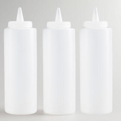 12 Oz Clear Plastic Squeeze Bottle Condiment Dispenser