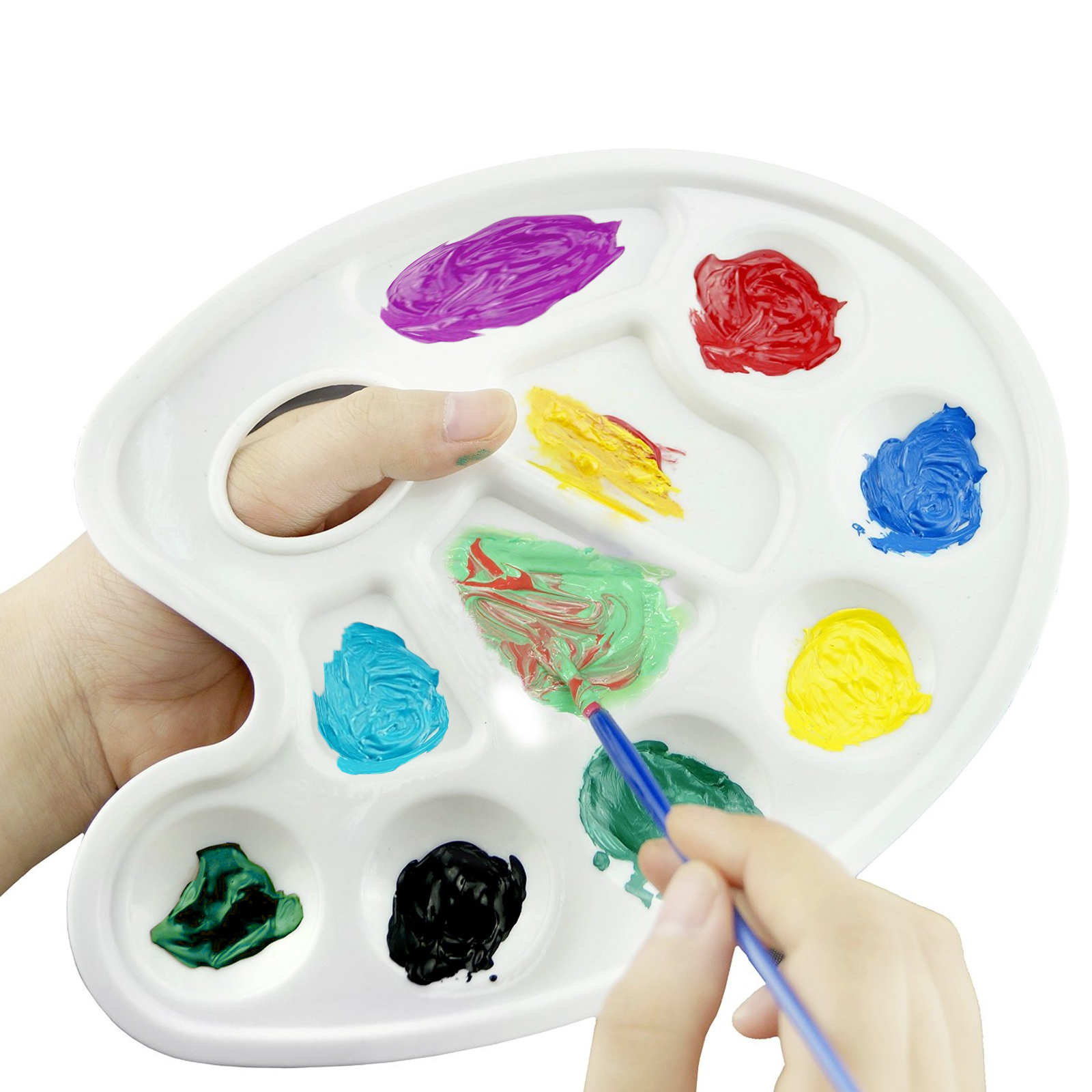 12pk plastic paint oval tray artist water color painting drawing supply 10 wells - Color Tray
