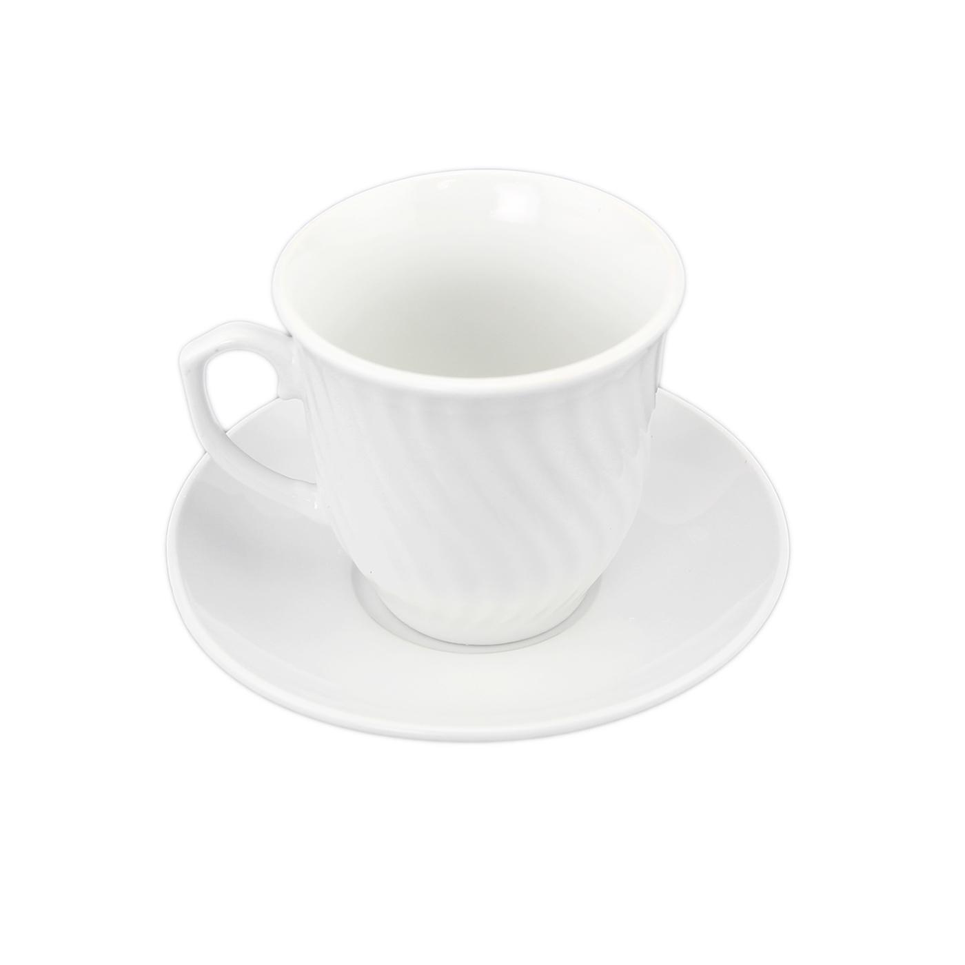 set of white porcelain 6 coffee cups and 6 saucers wave vintage design tea set ebay. Black Bedroom Furniture Sets. Home Design Ideas