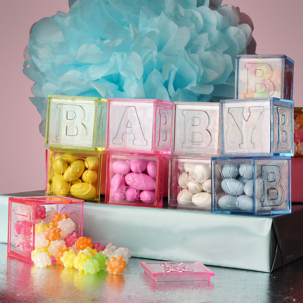 Plastic Bomboniere Favor Box Wedding Gift Lolly Cube Baby