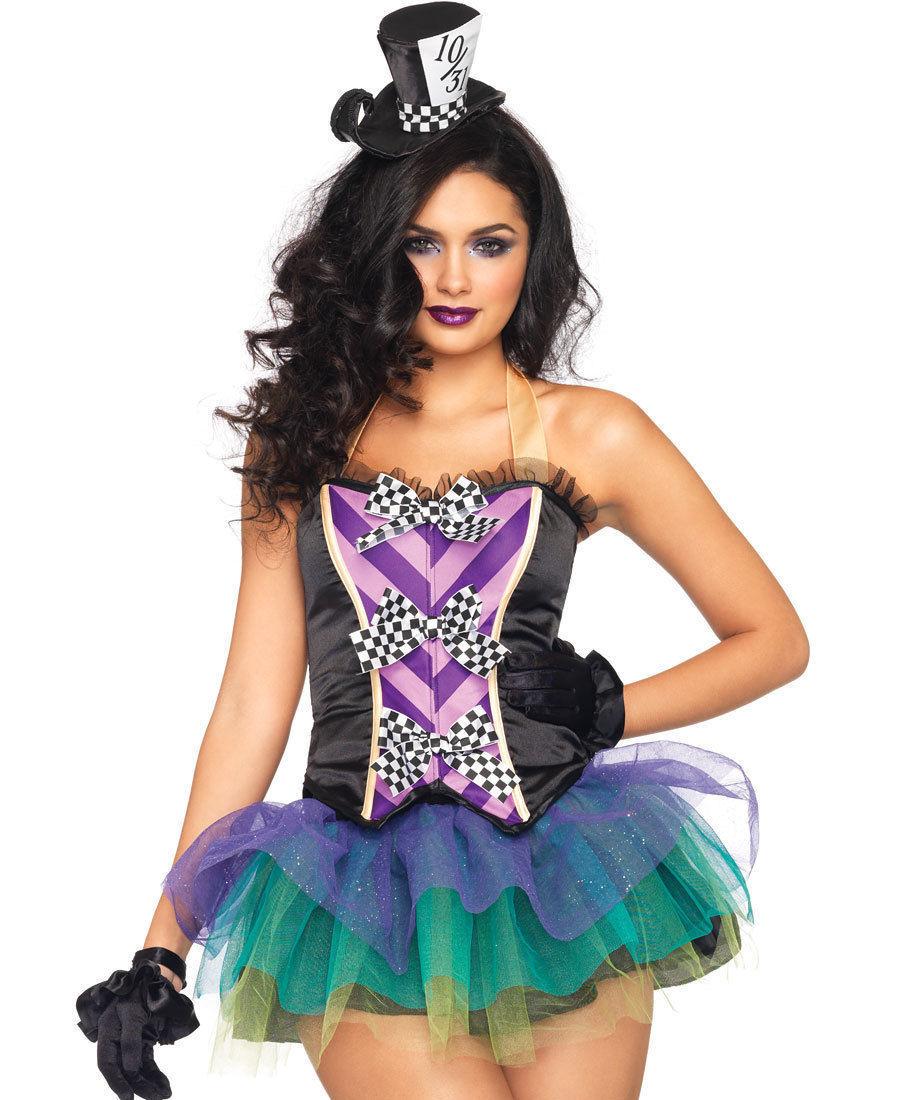 women tempting mad hatter alice in wonderland halloween costume tutu bustier set - Bustier Halloween Costumes