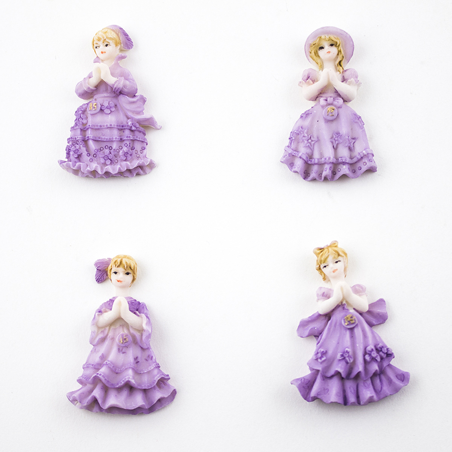24 Miniature Doll Figurines Sweet 16 Party Favors Purple