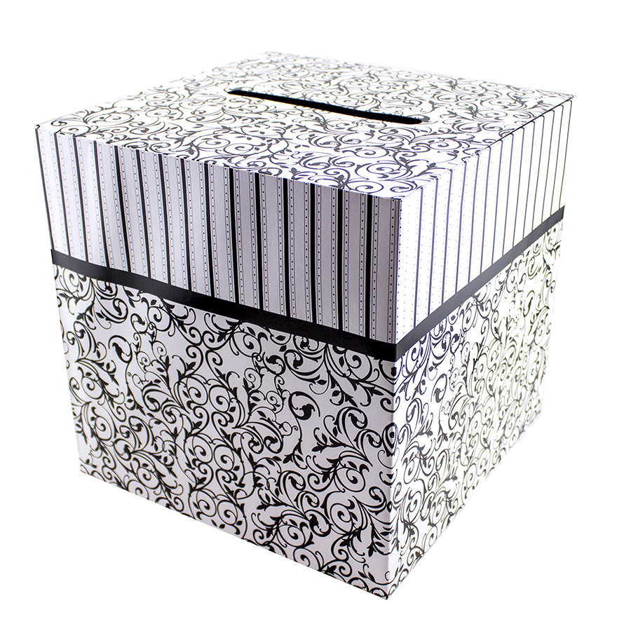 Black & White Wedding Card Money Gift Box Reception Wishing Well 12 ...