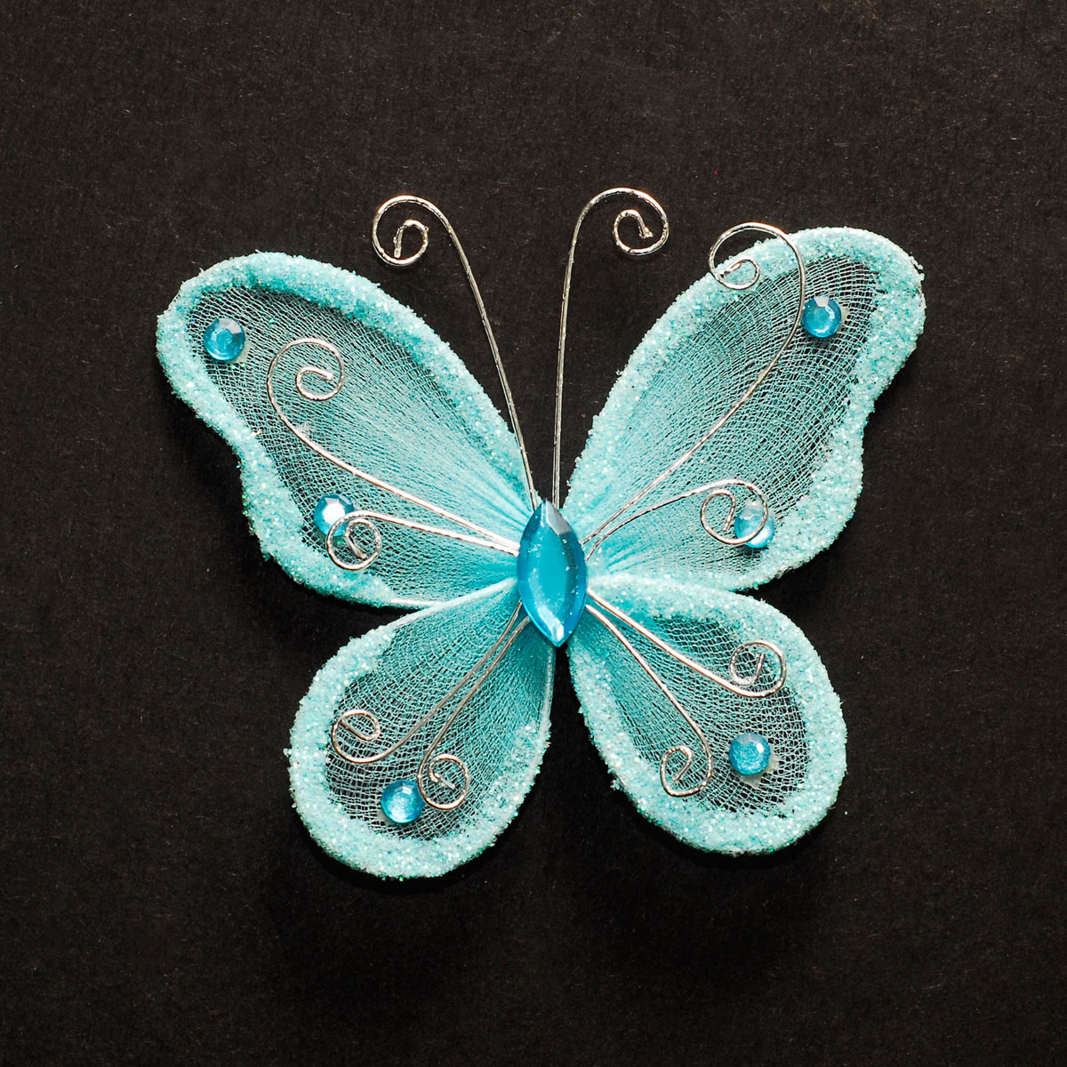 3 sheer nylon crystal wire butterfly w rhinestones party for Butterflies for crafts and decoration
