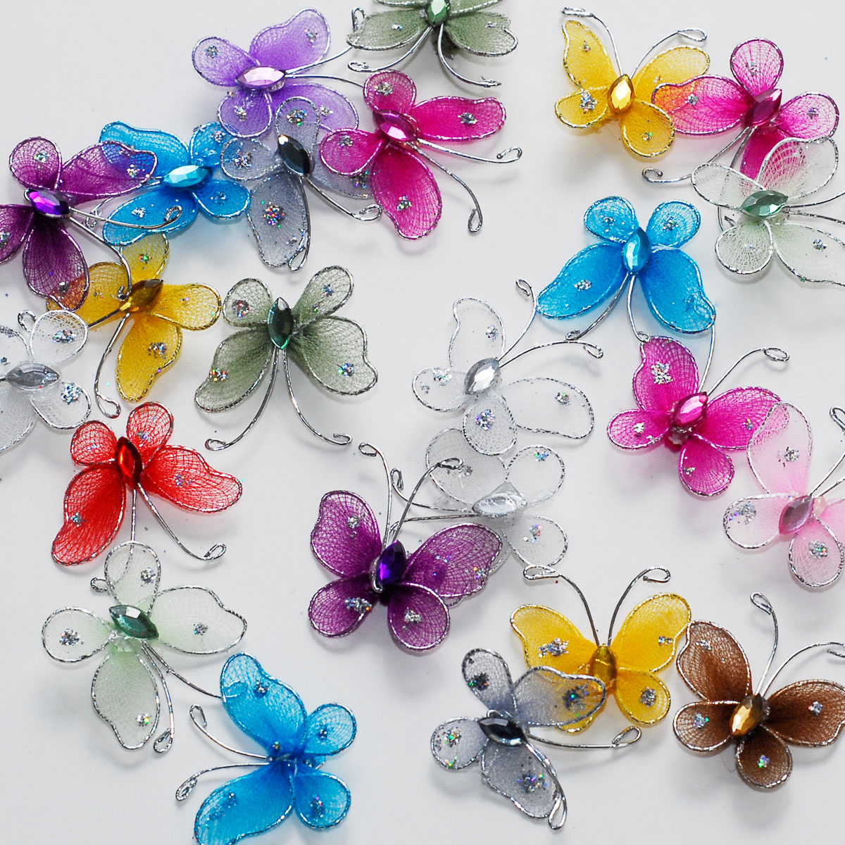 1 sheer nylon crystal wire butterfly w rhineston party for Butterflies for crafts and decoration
