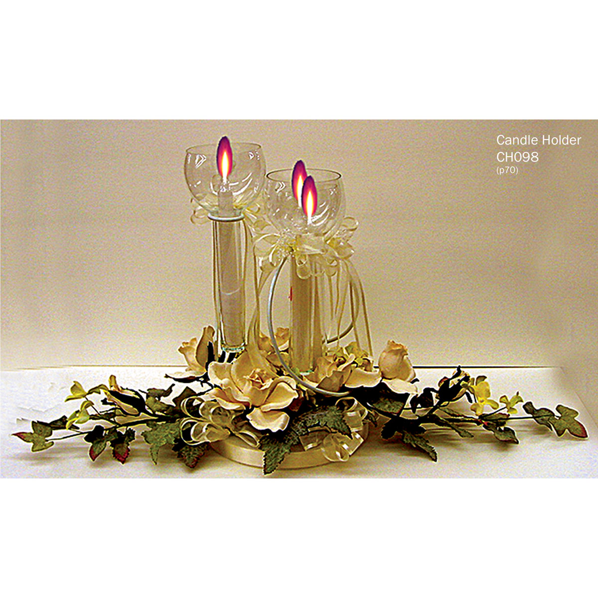 Decorative white three pillar metal centerpiece candle