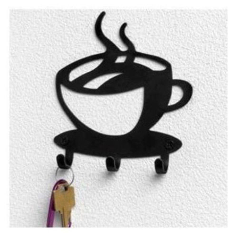 Wall Decor With Key Hooks : Coffee cup java silhouette wall mounted key hook art metal