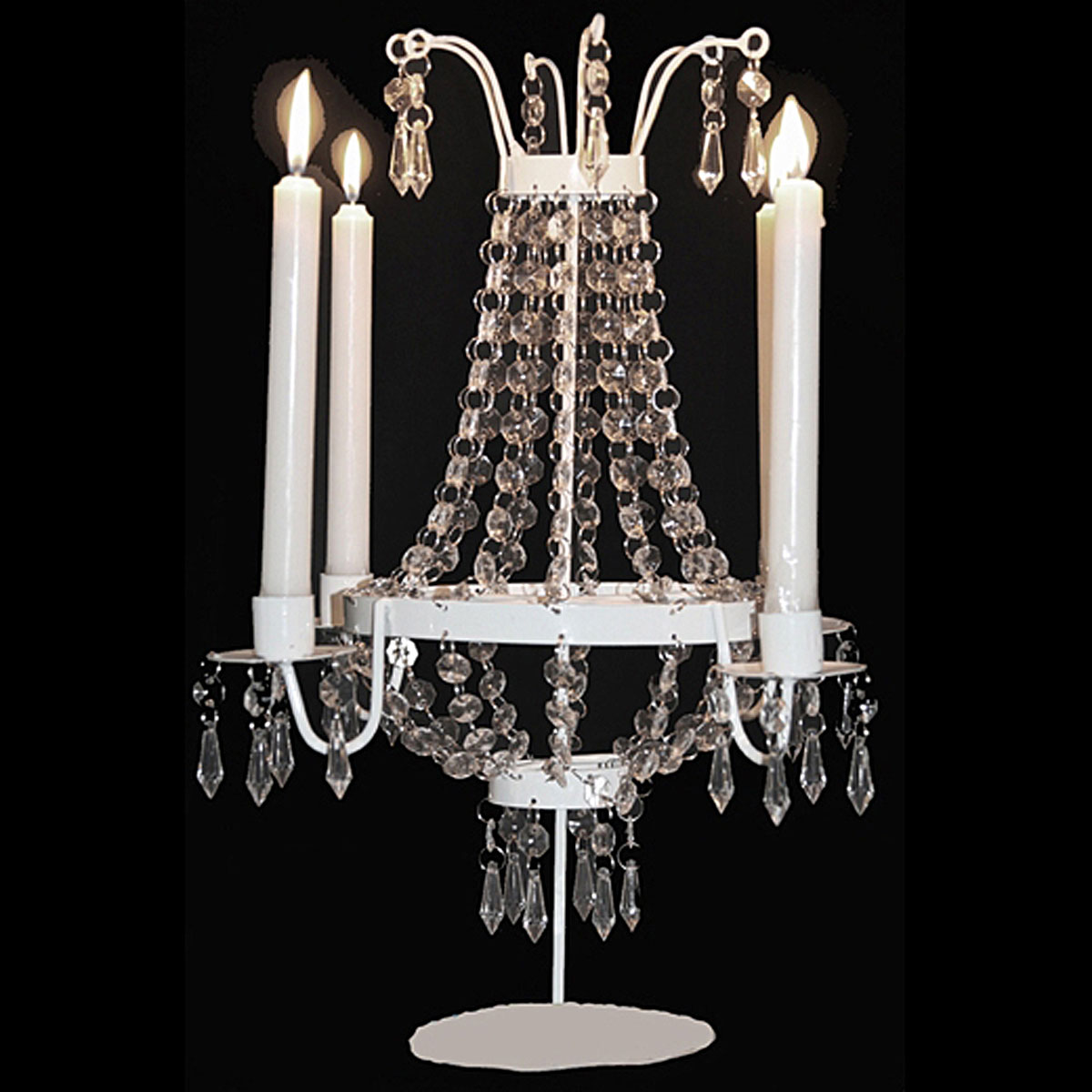 Candle Chandelier Centerpiece : Decorative white candle holder chandelier wedding