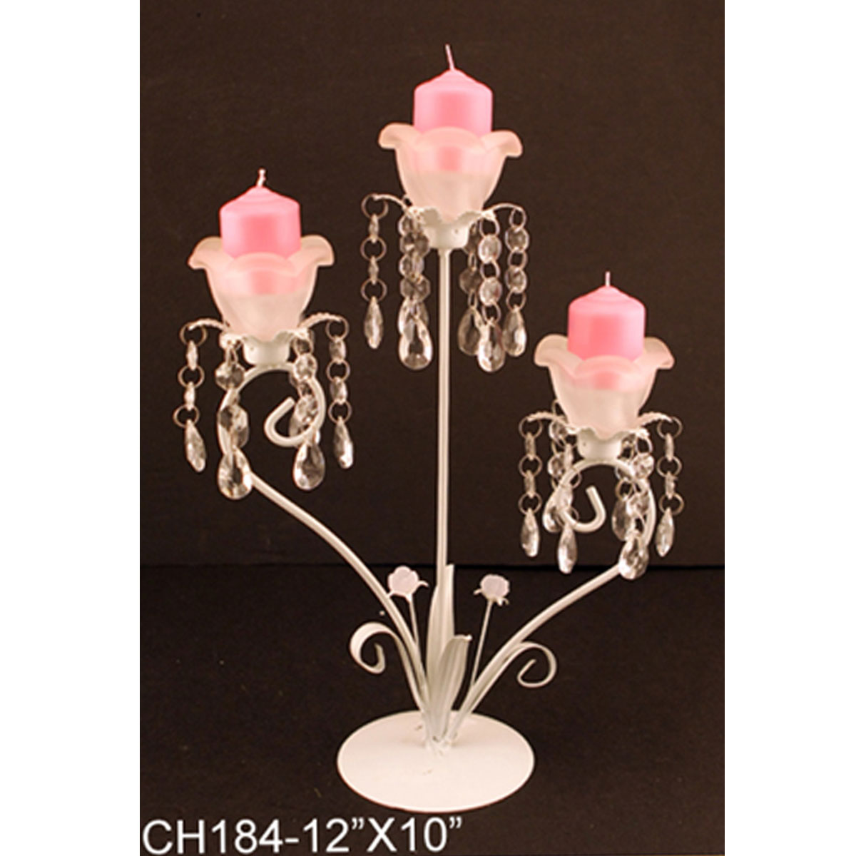 White Metal Pillar Candle Holders : Decorative white pillar metal centerpiece candle holder
