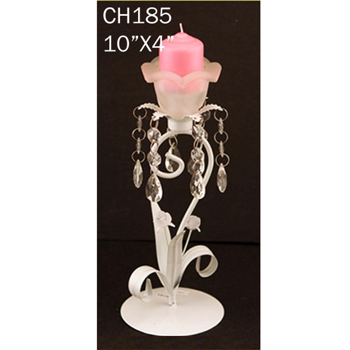 Decorative white pillar metal centerpiece candle holder