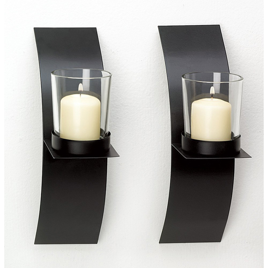Wall Sconces Set Of 2 : Modern Art Candle Holder Wall Sconce Display Black Wire Metal Plaque Set Pair eBay