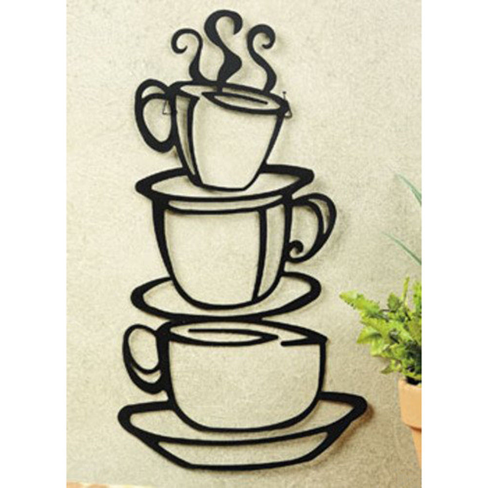 15 Whimsical Kitchen Designs With Chalkboard Wall: Coffee House Cup Java Silhouette Wall Art Metal Mug