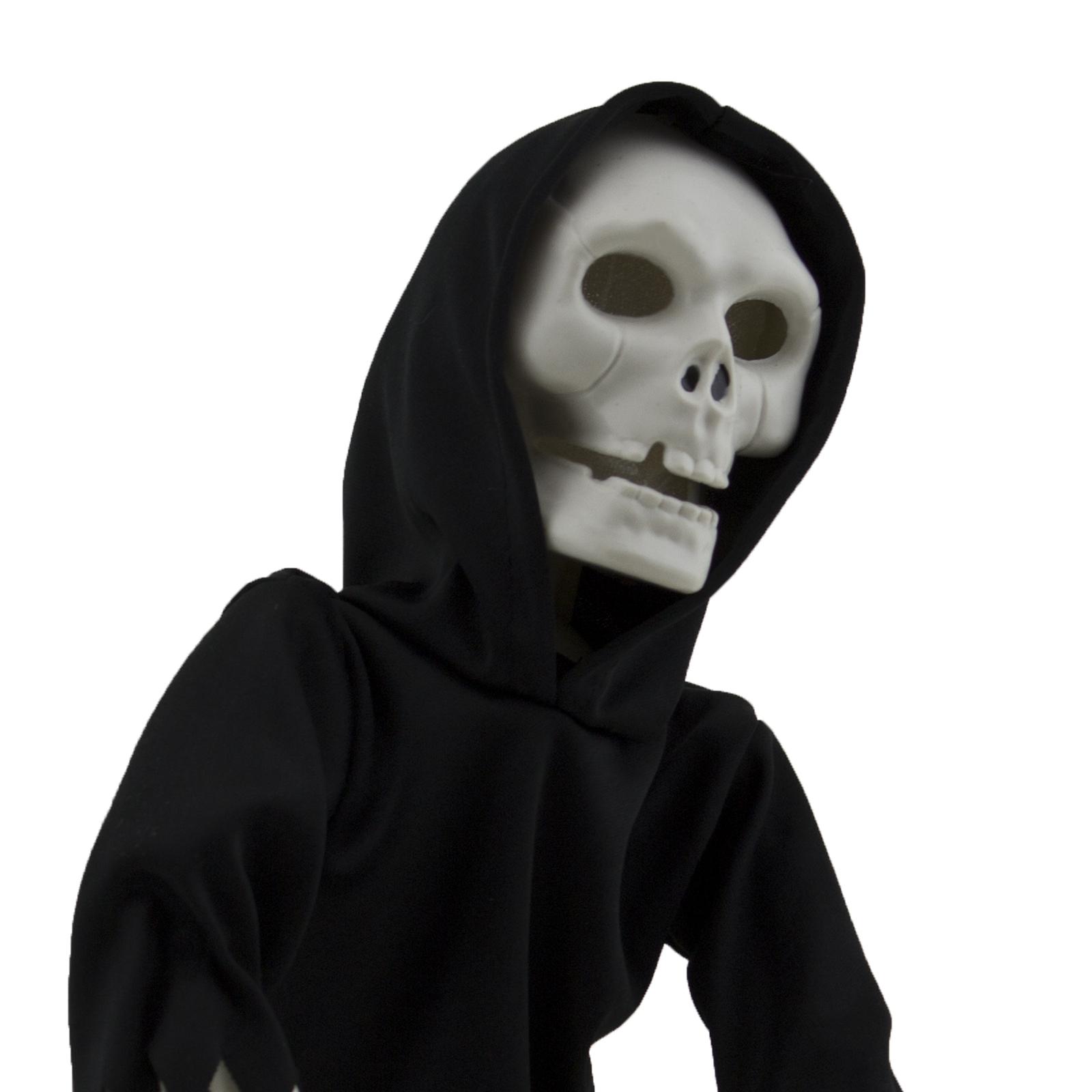 Walking talking light up grim reaper figurine skeleton for Animated flying reaper decoration