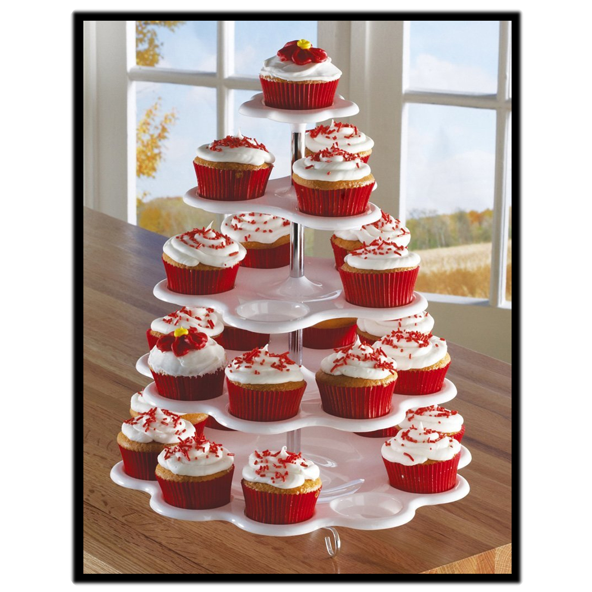 Wedding Cupcake Stands: 5-Tier White Plastic Cupcake Holder Display Stand Tower