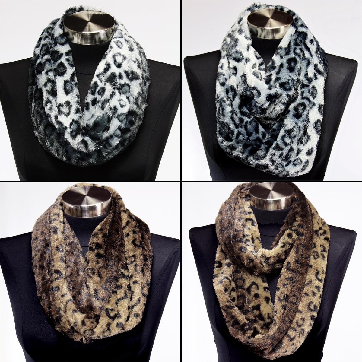 faux fur leopard print infinity scarf soft warm scarves