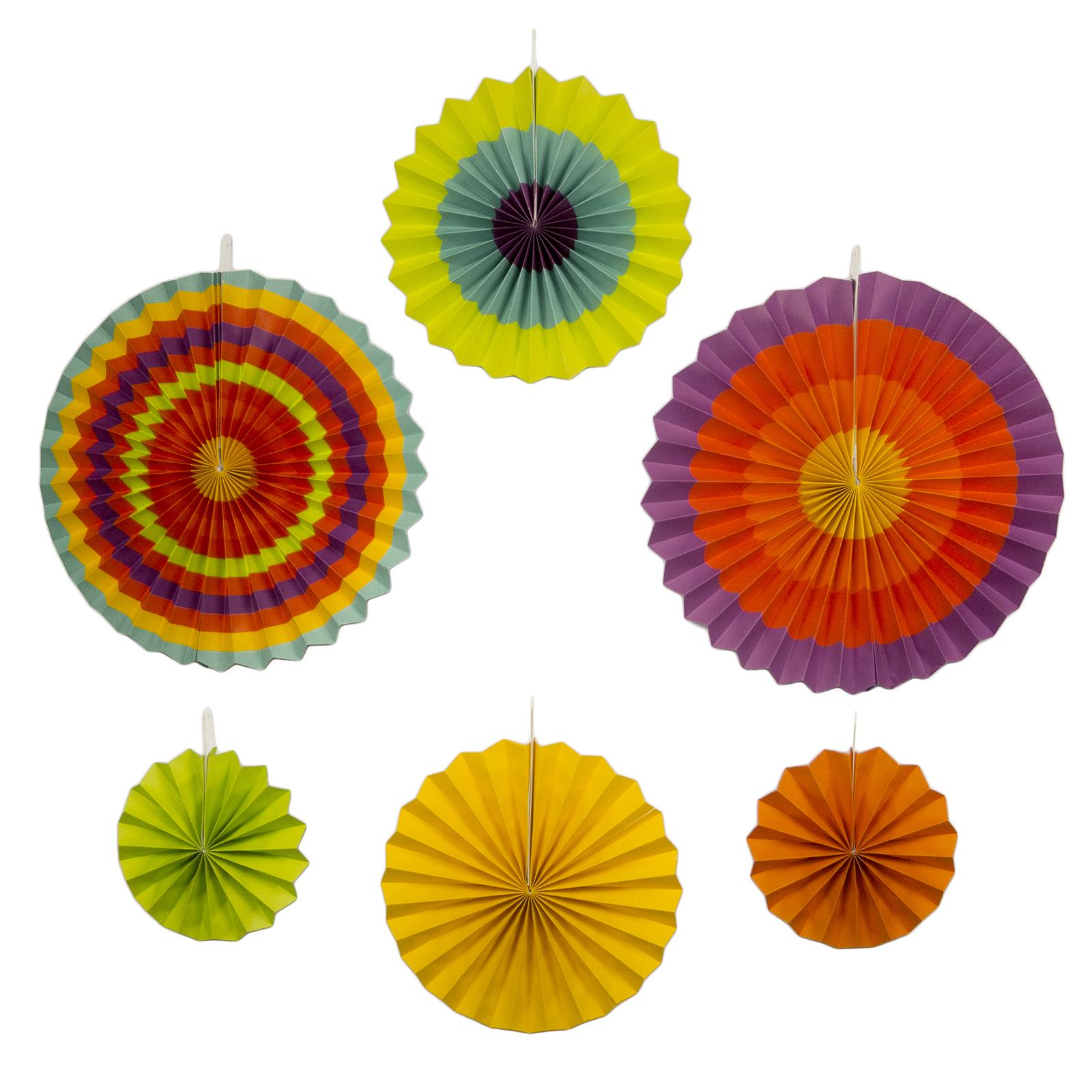 new fiesta paper fan decorations 6 assorted fans 5 de mayo party southwestern decoration - Fiesta Decorations