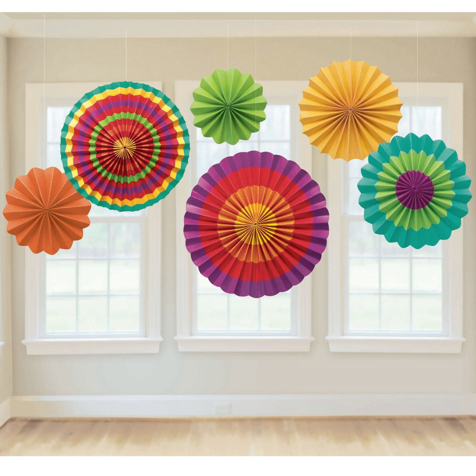 New fiesta paper fan decoration 6 colorful fans cinco de for Home decorations fan