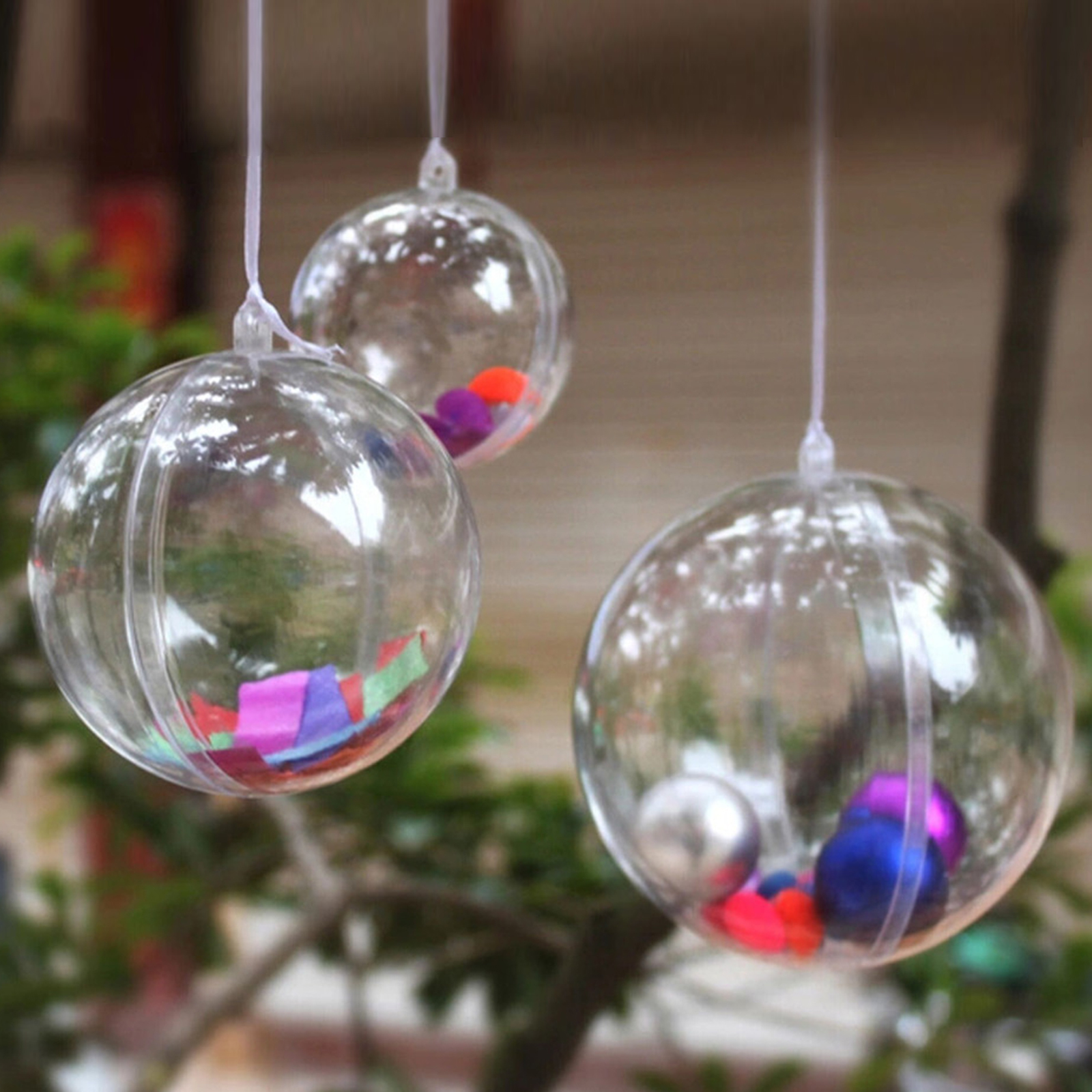 Clear Plastic Fillable Ball Ornaments Christmas Favor ...
