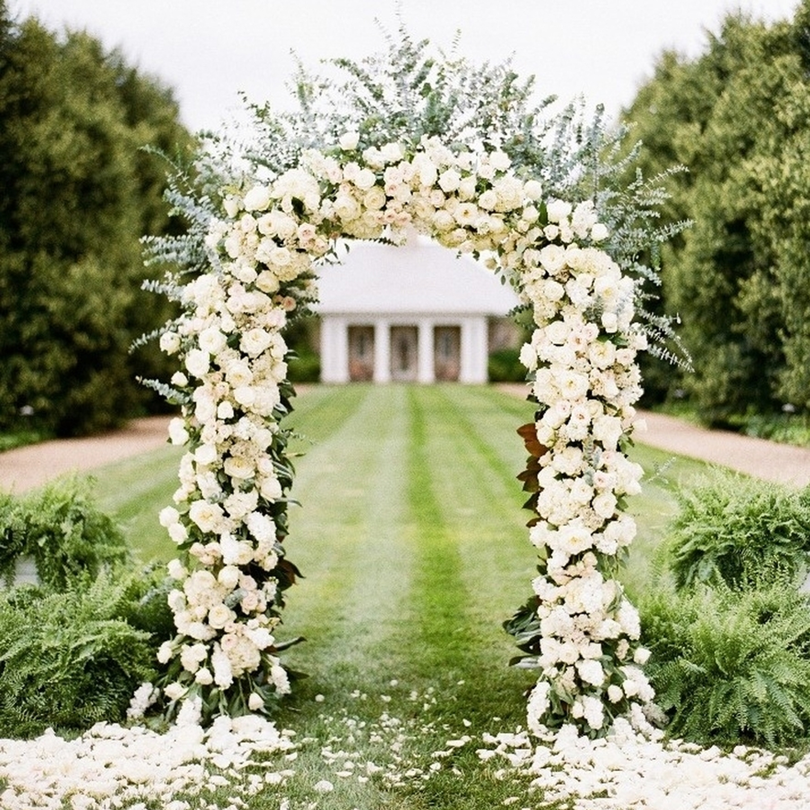 7 5 ft white metal arch wedding garden bridal party for Archway decoration