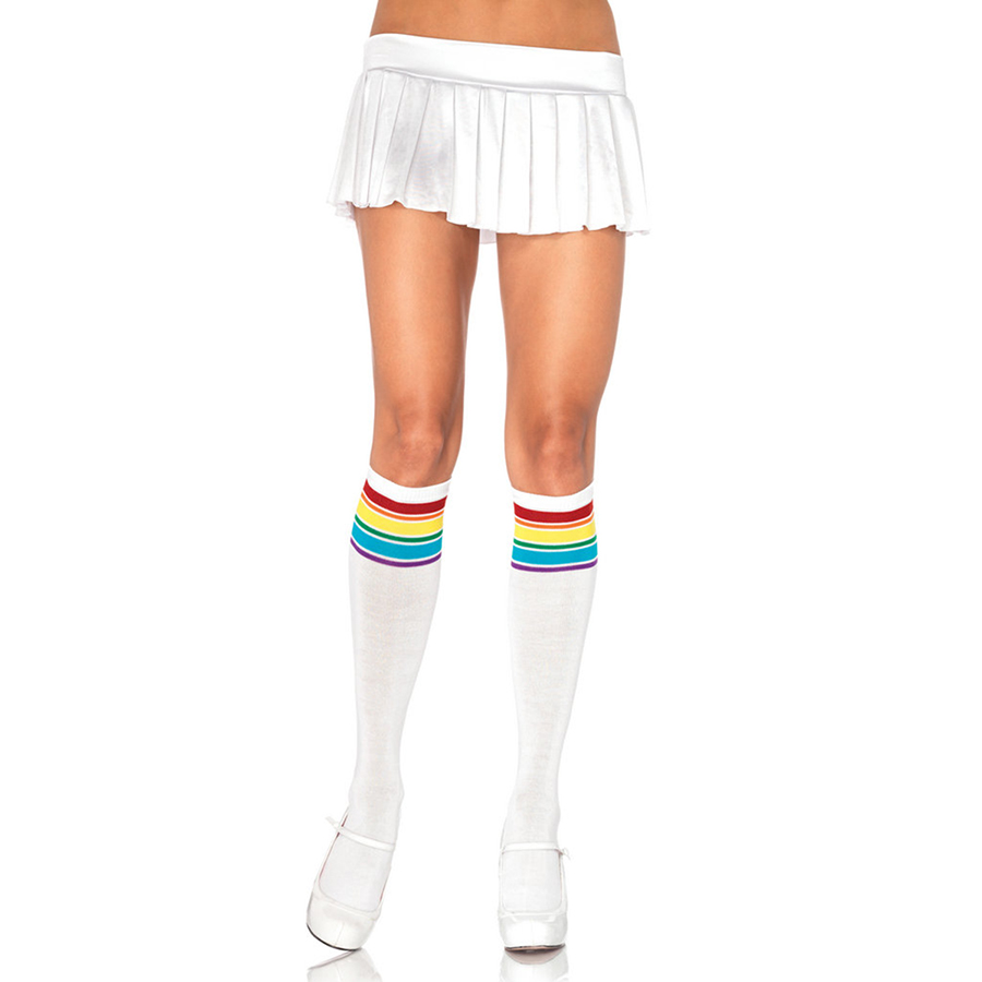 Ifavor123 Athletic Knee High Striped Socks White/Red Rainbow Stripes Leg Avenue Women at Sears.com