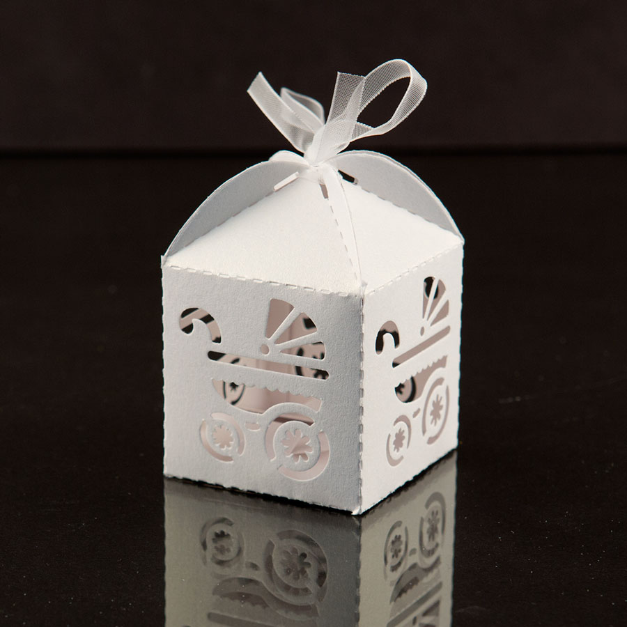 white baby carriage favor candy box party baby shower decorations bow