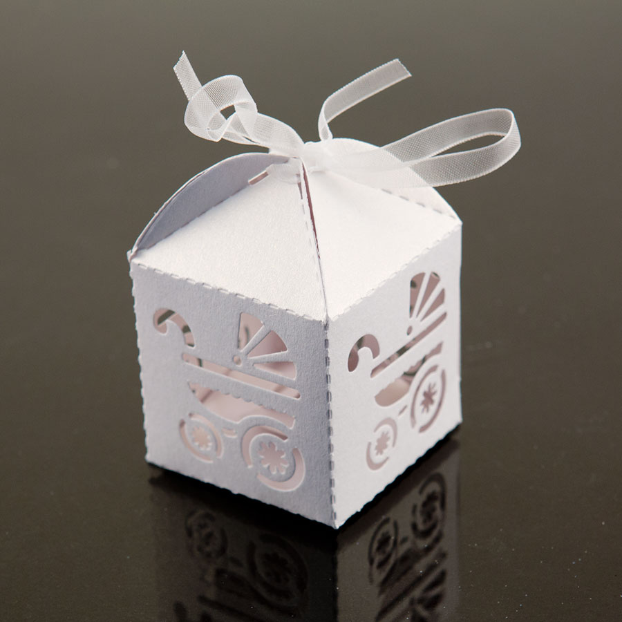 24 pack gift white bow carriage favor box candy party baby shower