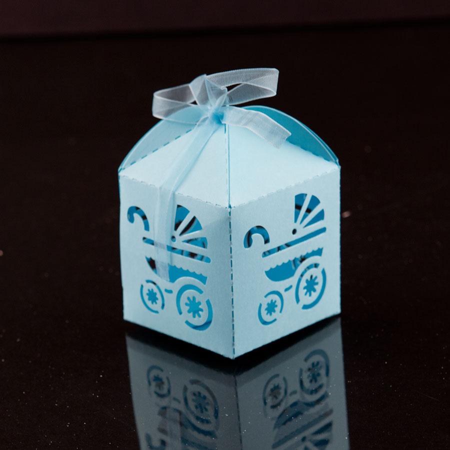 Boxes For Baby Shower Favors: 12 Laser Cut Blue Baby Carriage Favor Candy Box Party Baby