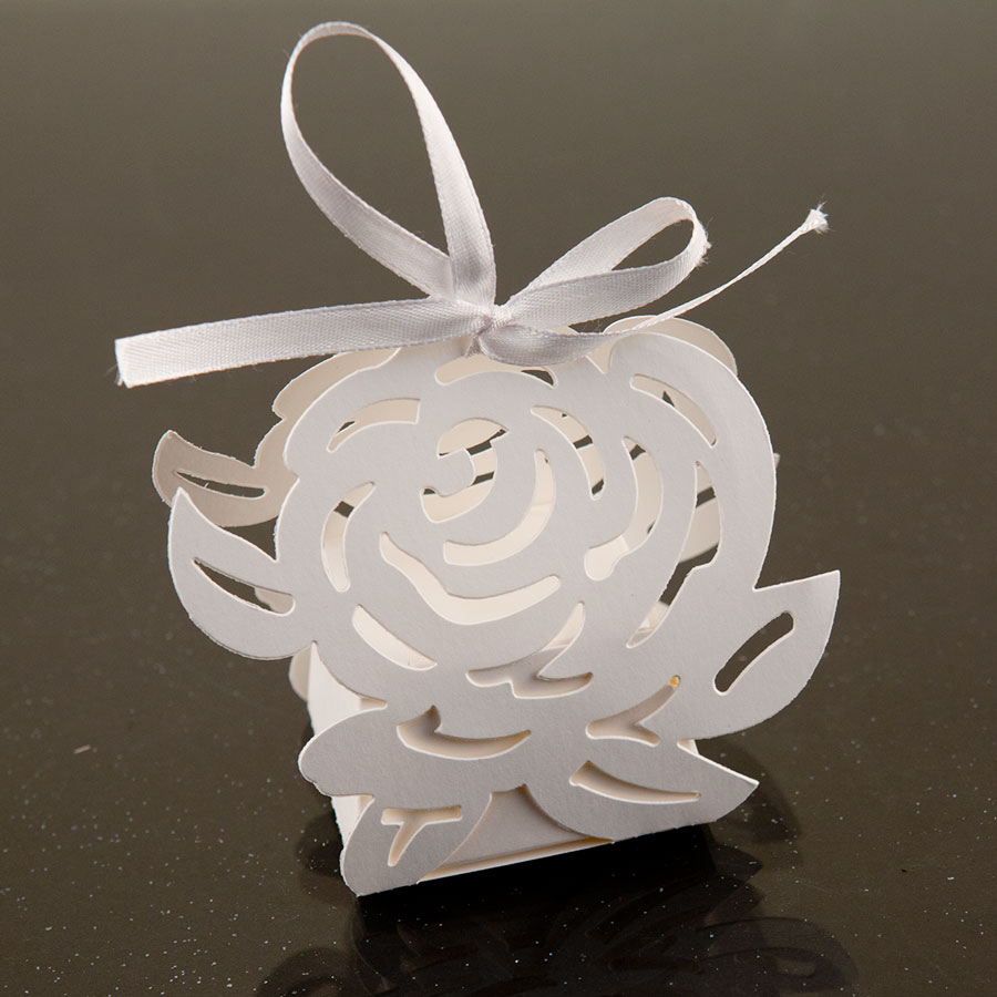 White Rose Flower Favor Candy Box Party Wedding Event