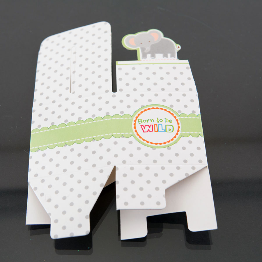 12 elephant born to be wild jungle baby shower favor candy boxes party