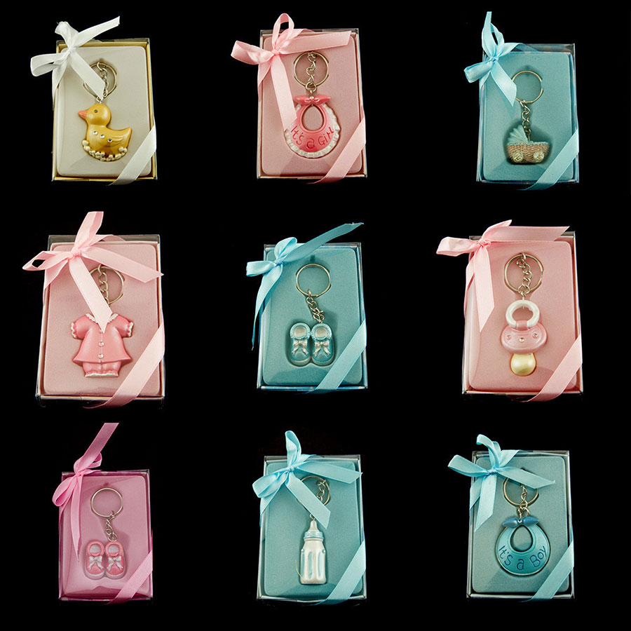 Baby Shower Key Ring Favors ~ Cute pink blue baby shower key chain favor lot of pieces