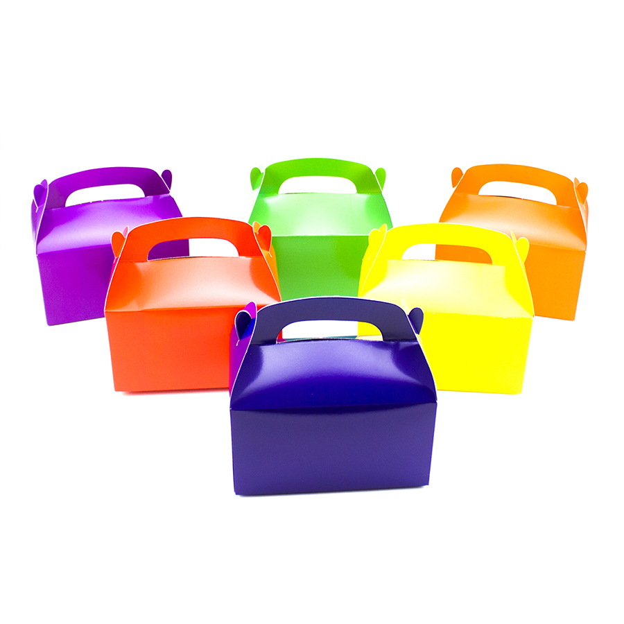 Black Treat Favor Boxes : Assorted bright color treat boxes birthday party favors