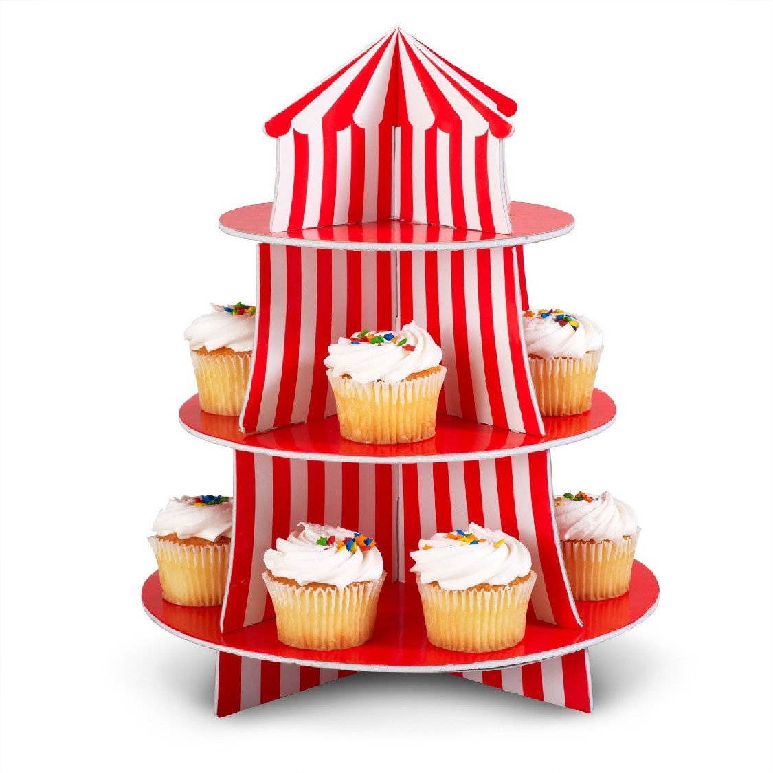 1 circus carnival tent decoration party cupcake stand for Decoration stand