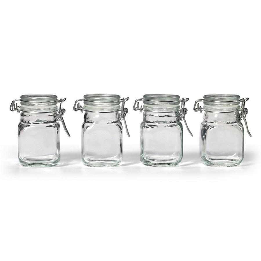 new square glass jar w hinge glass lid 4 piece pcs set canisters storage clear. Black Bedroom Furniture Sets. Home Design Ideas