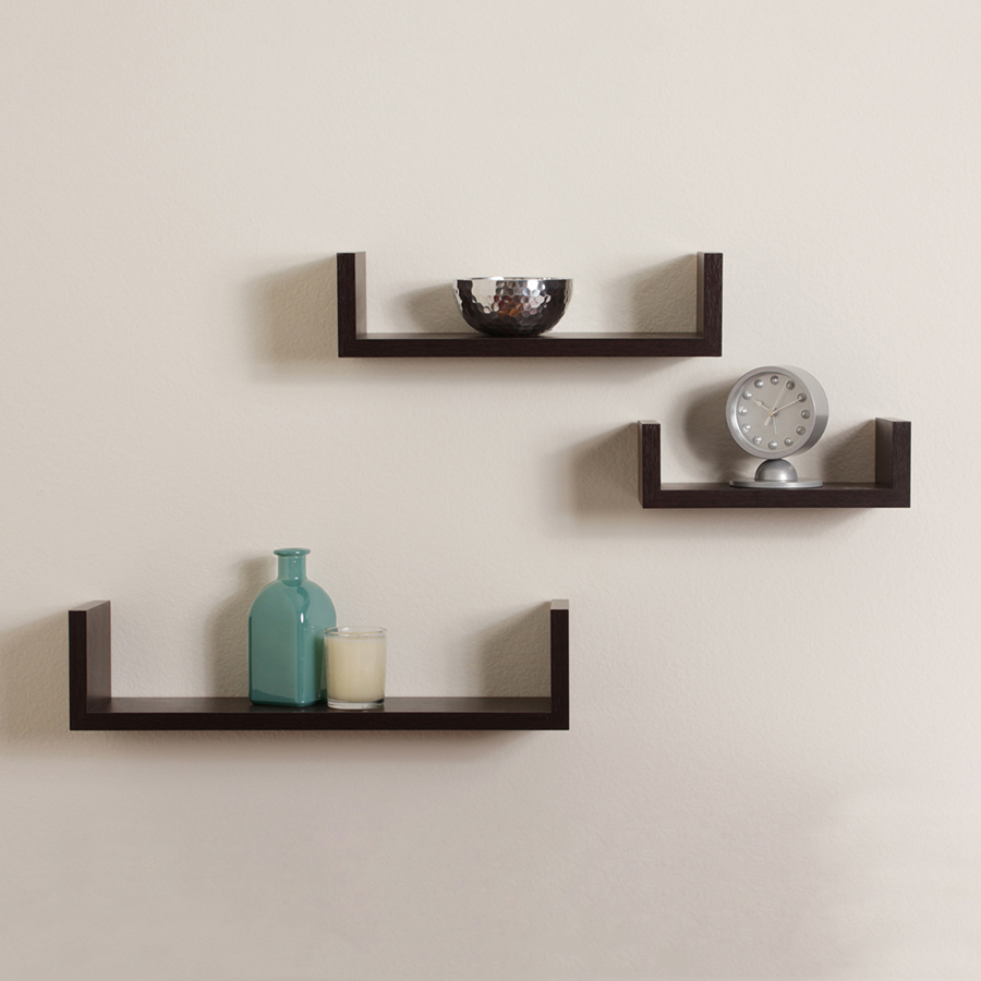 Floating u shaped shelves walnut brown finish set of 3 for Contemporary decorative accessories