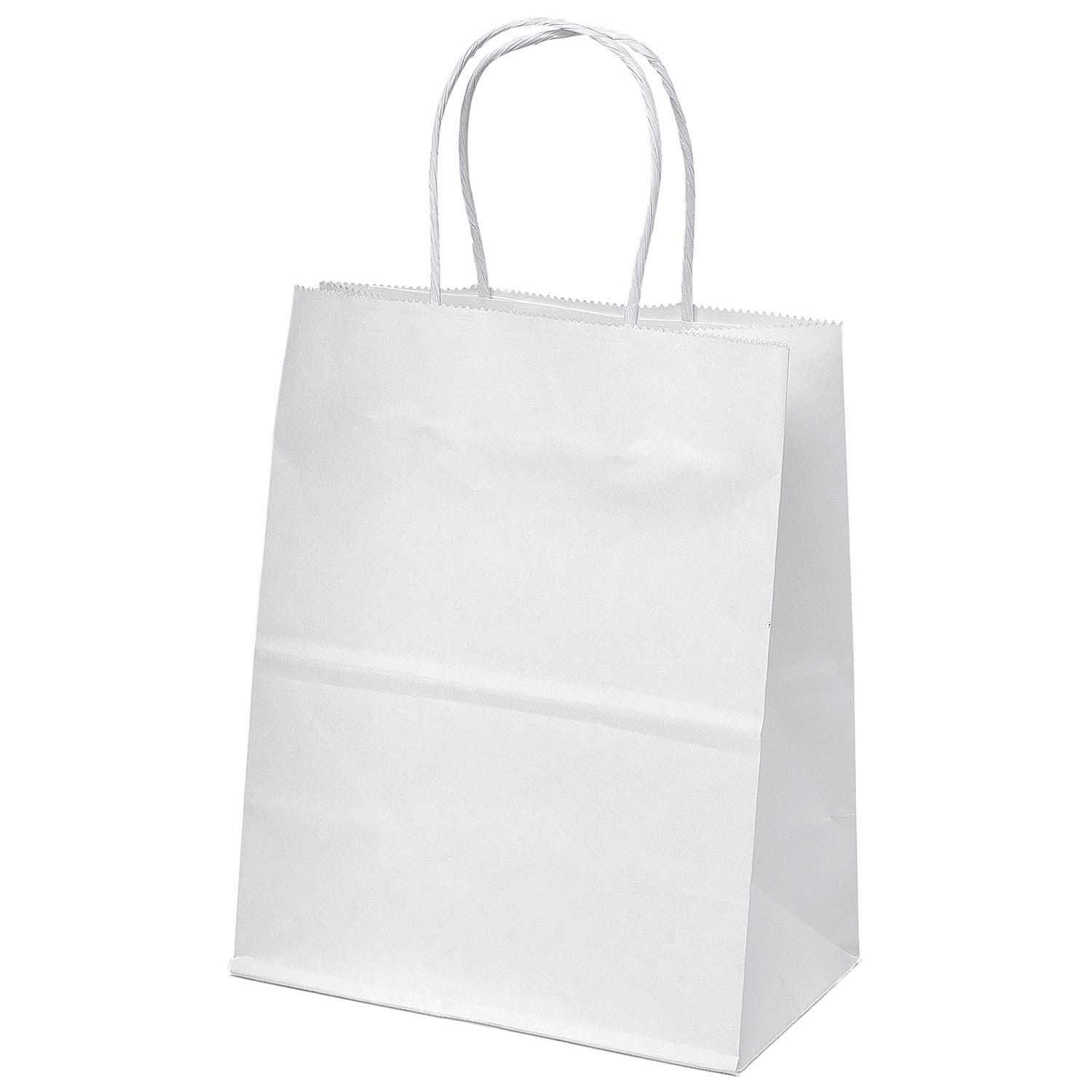 """10 """" X 8"""" White Paper Kraft Gift Bags With Handles Party"""