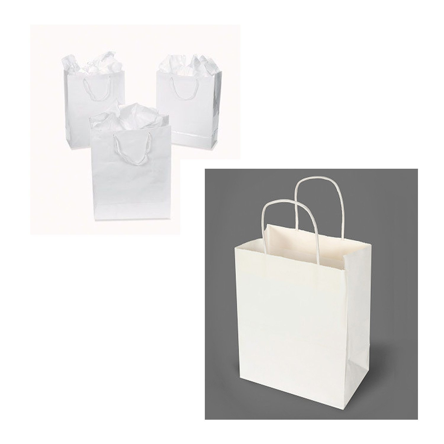White Kraft Paper Bags Merchandise Shopping Party Favor