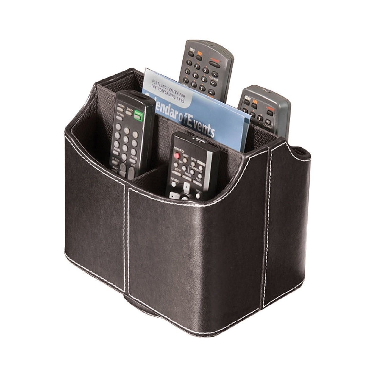 spinning media storage faux leather remote control organizer holder caddy stitch ebay. Black Bedroom Furniture Sets. Home Design Ideas