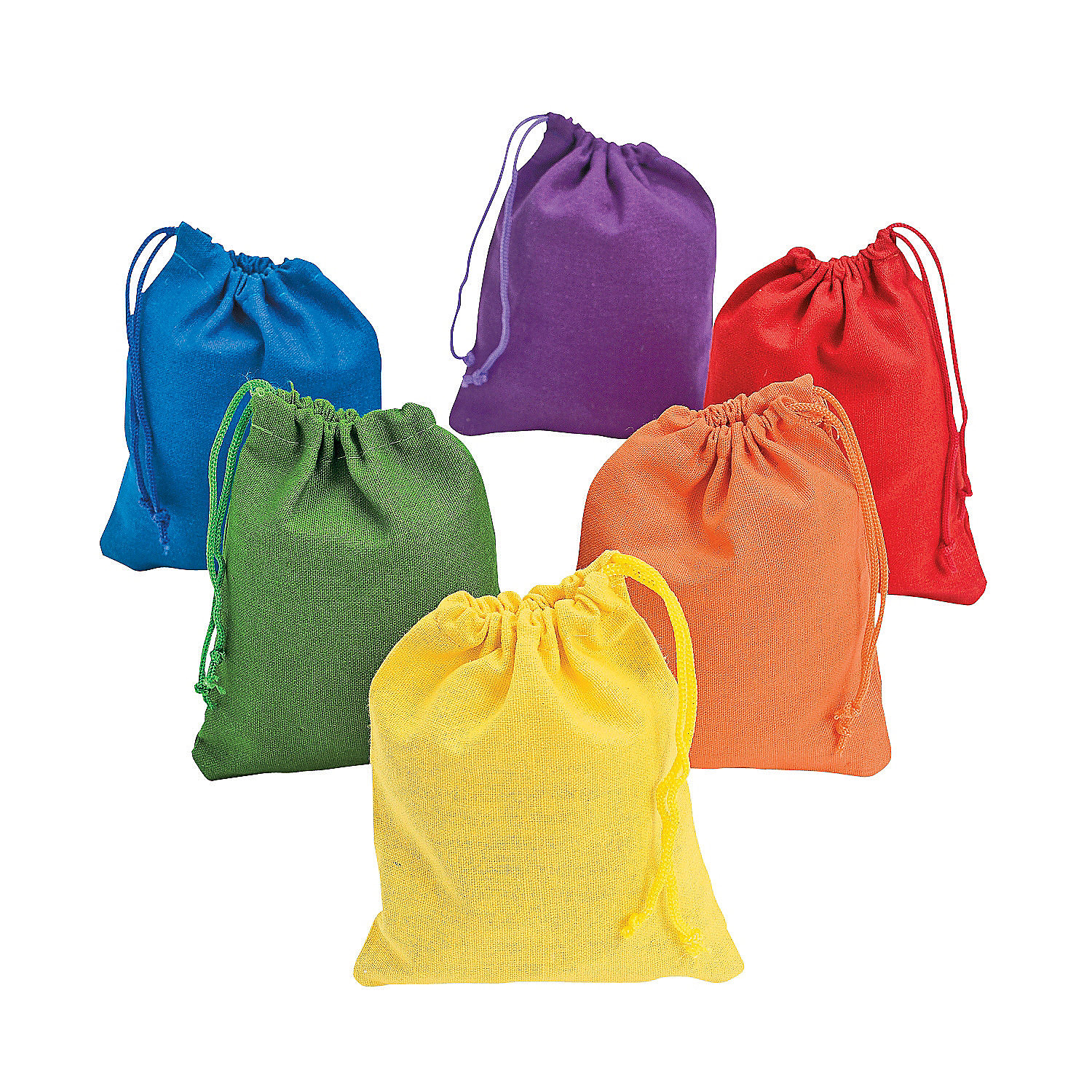 Dozen Bright Colorful Canvas Sacks Rectangle Shape Drawstring Bags ...