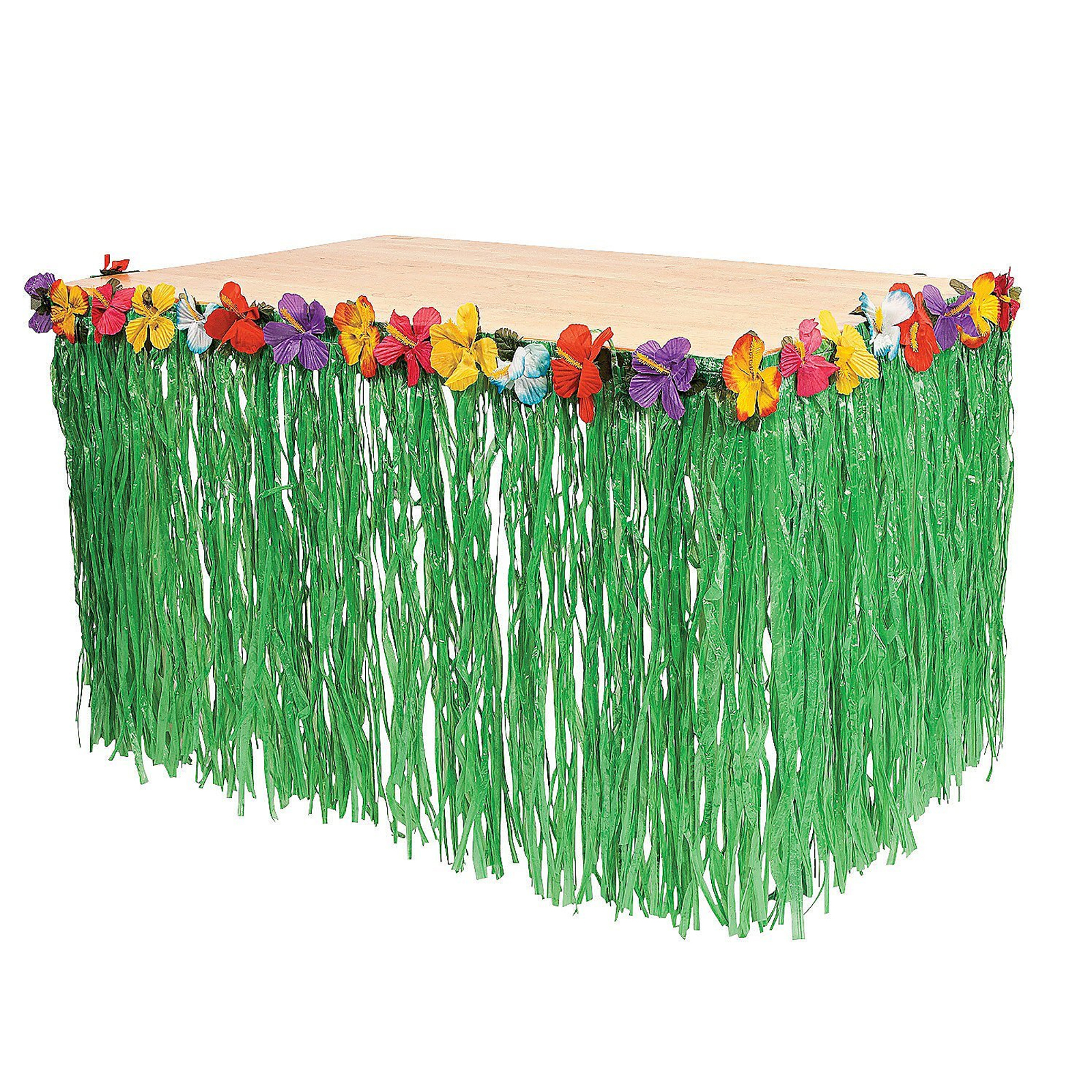 Hawaiian Luau Pool Beach Green Table Grass Flower Skirt