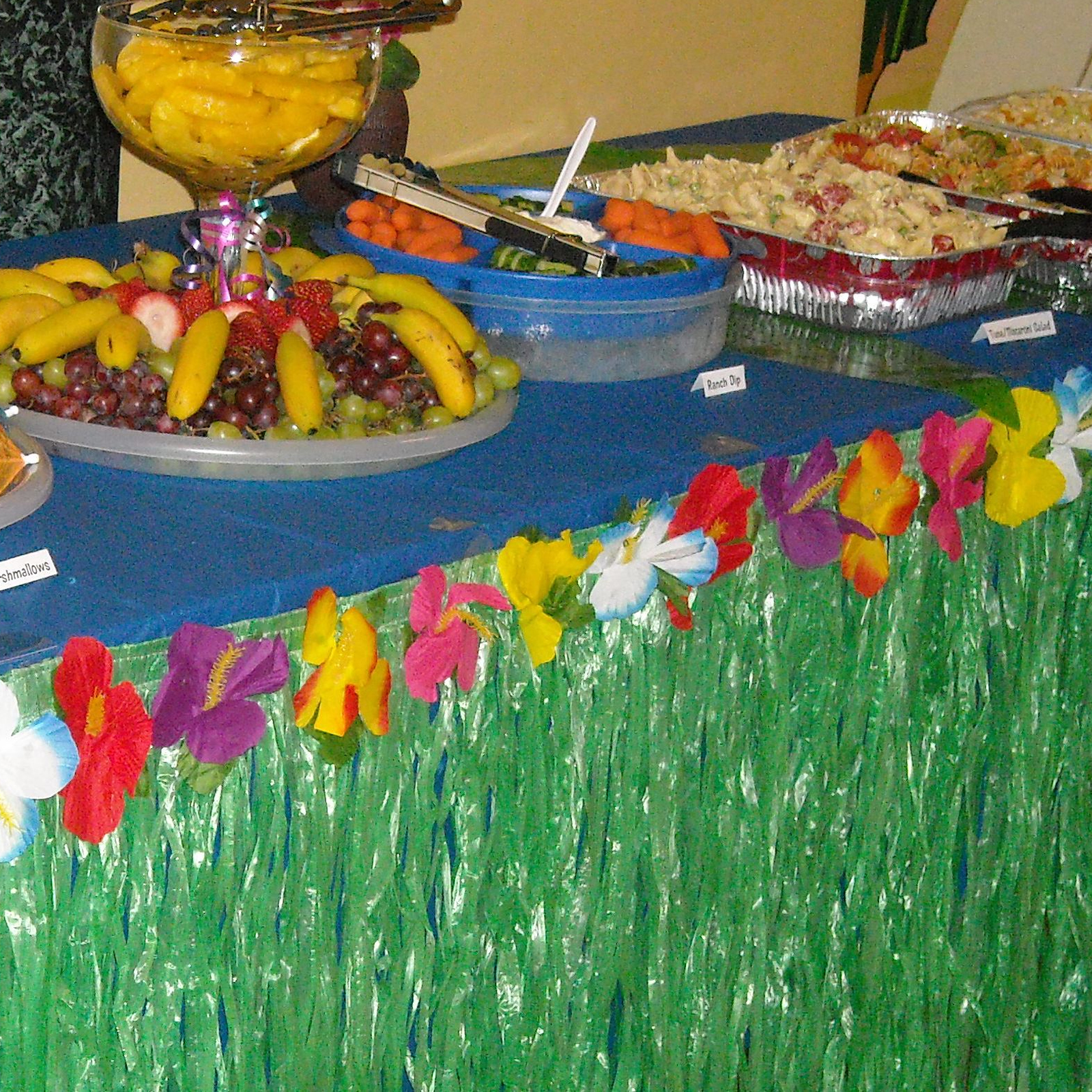Hawaiian Luau Pool Hibiscus Green Table Grass Flower Skirt