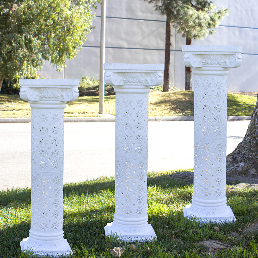 Set Of 4 Plaster Coated Plastic Wedding Roman Columns Decoration Backdrop Floral