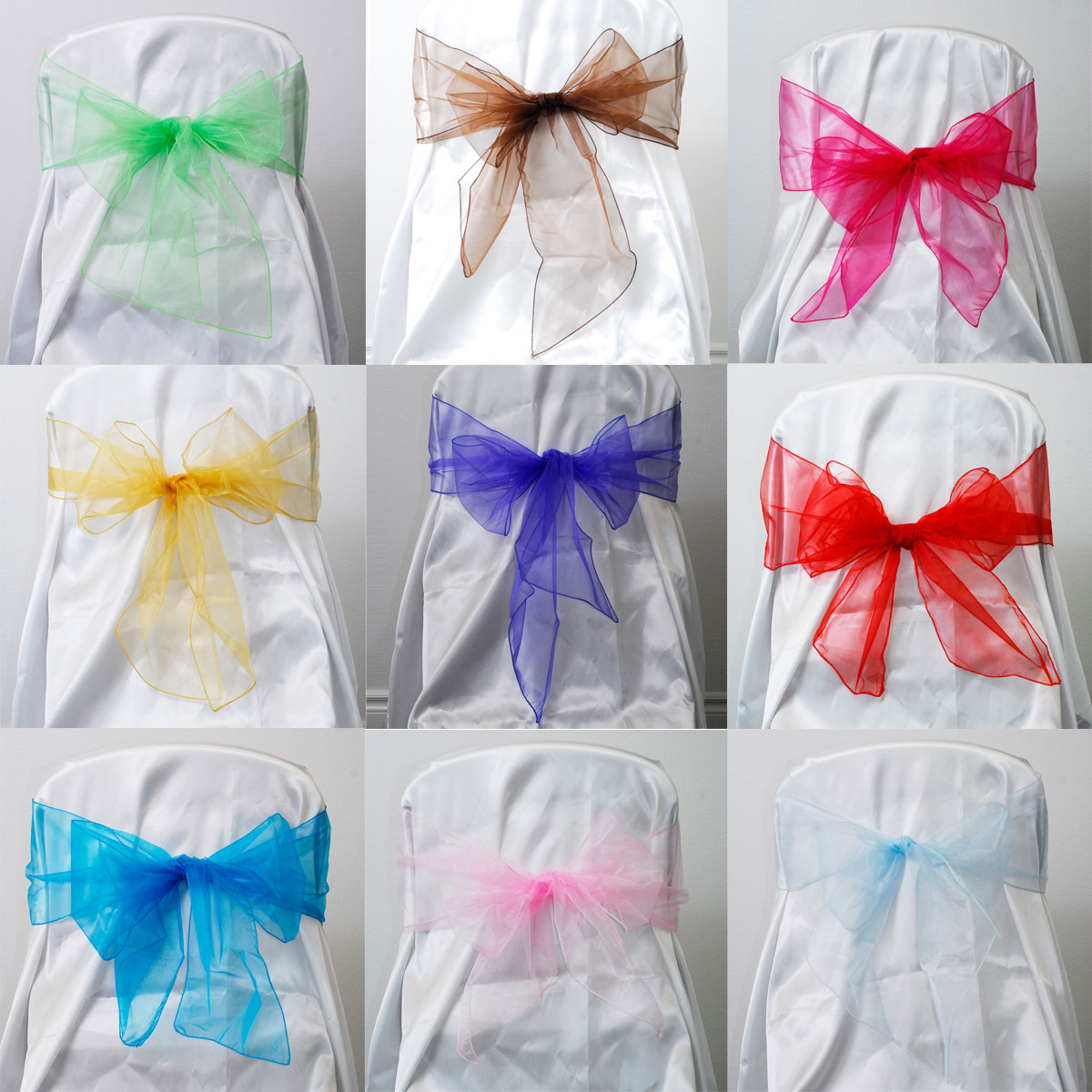 sheer organza chair bow sash reception decor wedding party banquet
